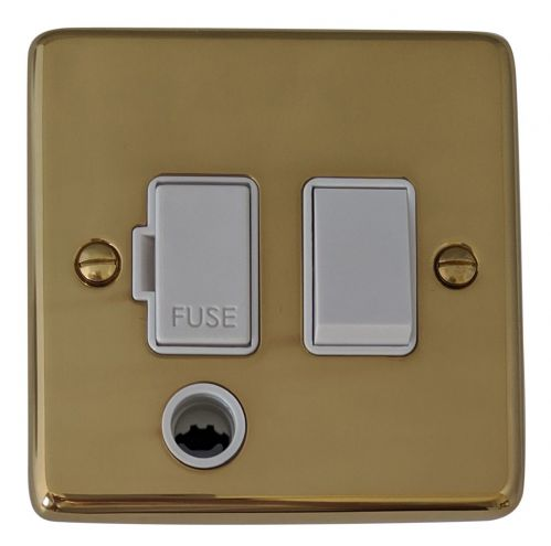 G&H CB56W Standard Plate Polished Brass 1 Gang Fused Spur 13A Switched & Flex Outlet